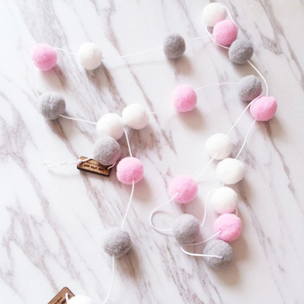 20M 30PCS Ball Kids Room Decoration Nordic Wool Ball Wall Hanging - Browser-buy.com