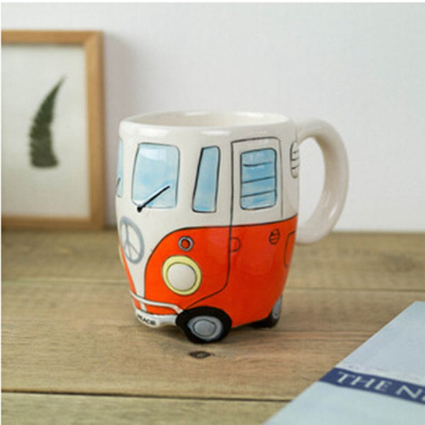 400ml Creative Hand Painting Double Bus Mugs Retro Ceramic - Browser-buy.com