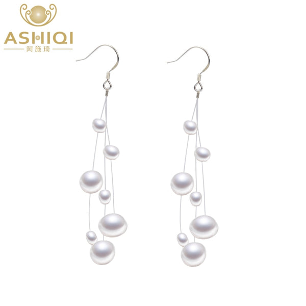 ASHIQI White Natural Freshwater Baroque Pearl Earrings 925 Sterling Silver Tassels Jewelry For Women - Browser-buy.com