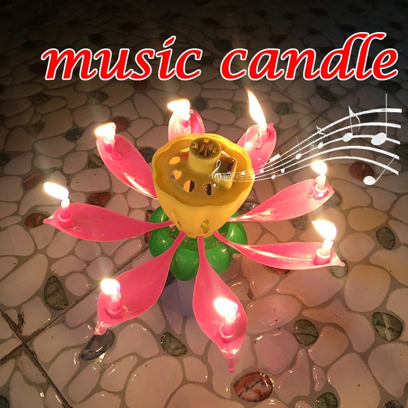 Cake Candle Musical Lotus Flower Party Gift Art Happy Birthday