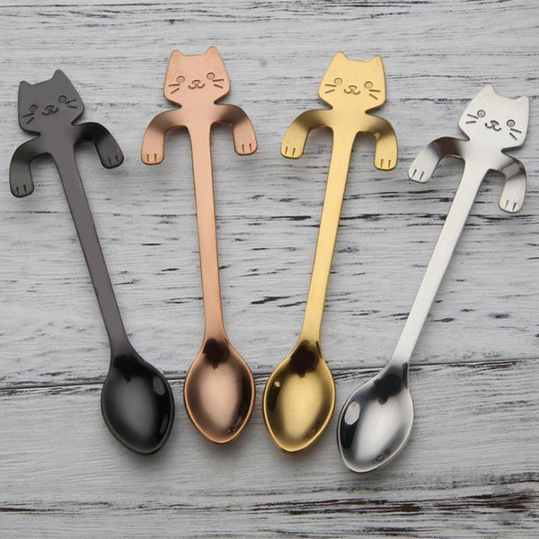 Cute Cat Teaspoons Stainless Steel Cartoon Cat spoons - Browser-buy.com