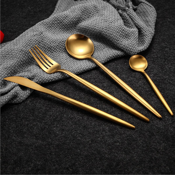4 Pcs/set Pure Gold European Dinnerware knife - Browser-buy.com