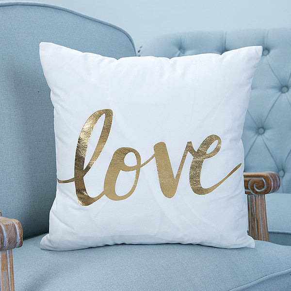 Hot Shiny Nordic Simple Bronzing Heart Geometry Striped Love Letter Printed Cushion - Browser-buy.com
