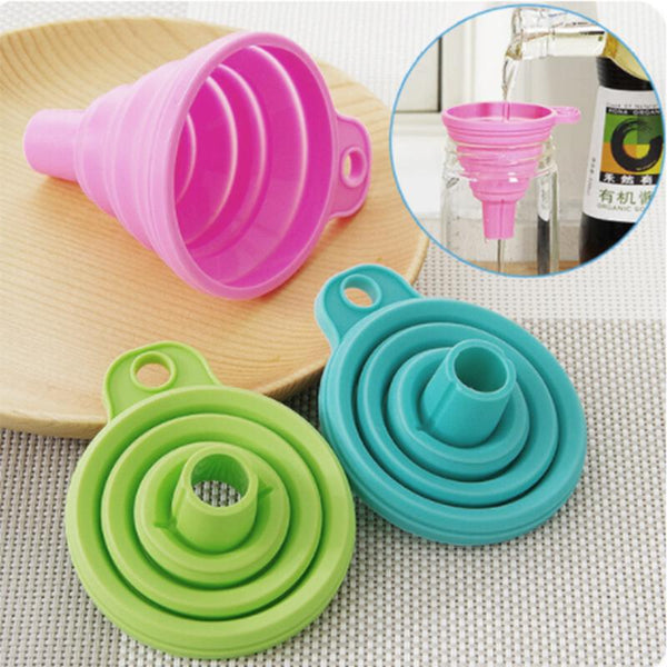 Protable Mini Silicone Foldable Funnels Collapsible Style Funnel Hopper - Browser-buy.com