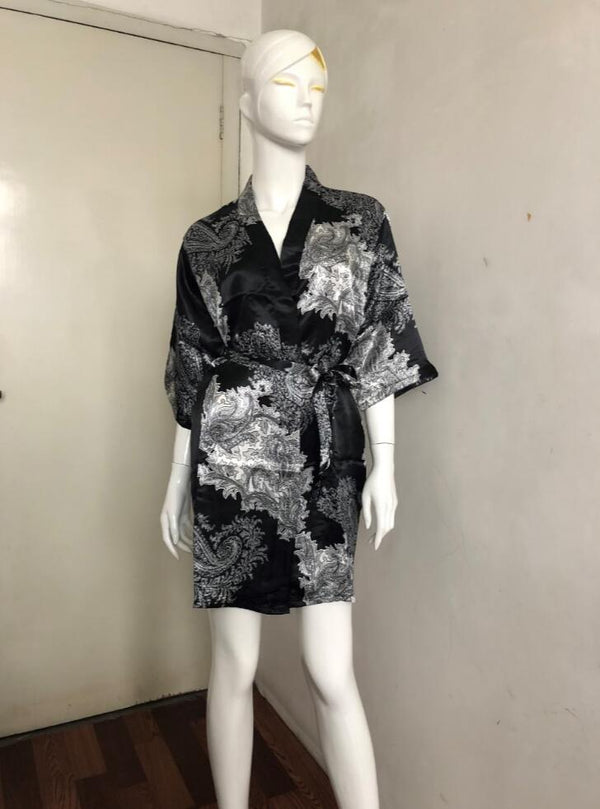 Silk Satin Wedding Bride Bridesmaid Robe Floral Bathrobe Short Kimono Robe - Browser-buy.com