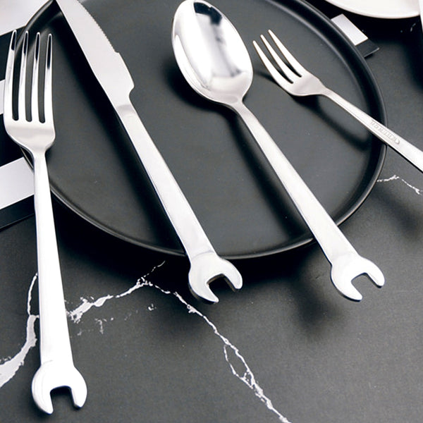 Stainless Steel Creative Wrench Shape Fork Spoon Tableware - Browser-buy.com