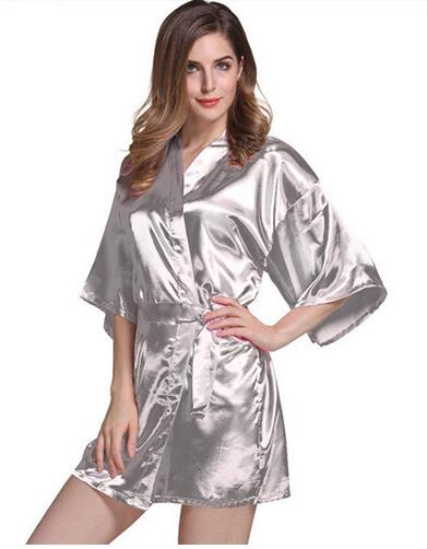 2144b505769 Women Silk Satin Short Night Robe Solid Kimono Robe Fashion Bath Robe -  Browser-buy