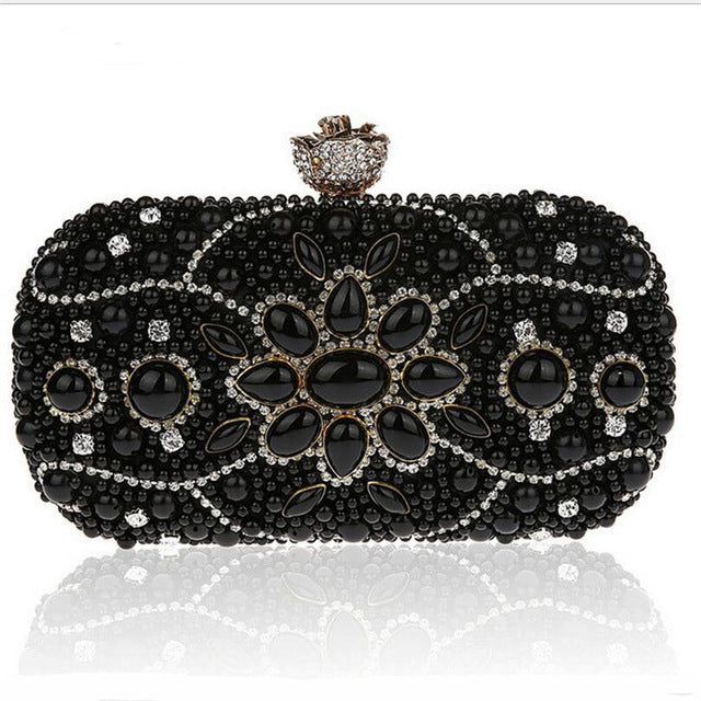 2016 Vintage Design Women Clutch Bags Black Beige Evening Bag Luxury Diamond Clutches Hot Wedding Party Purse Chain Handbags