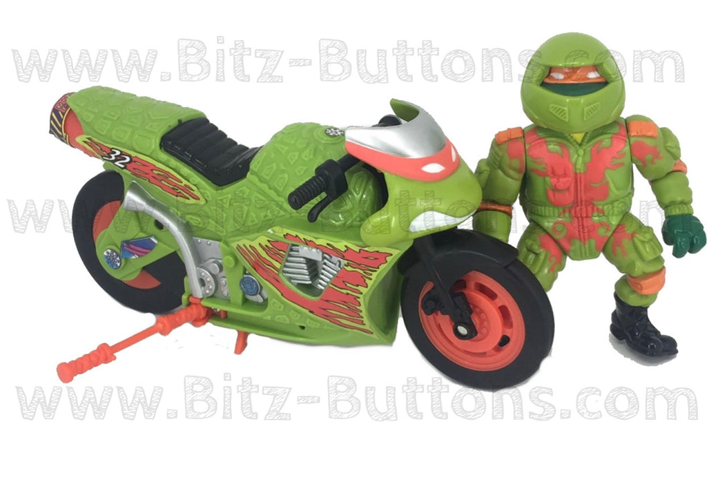 Road Racin' Mike w/ Kowabunga Bike (TMNT Complete, Playmates)