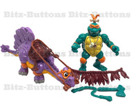 Cave Turtle Mike w/ Silly Stegosaurus (TMNT, Playmates)