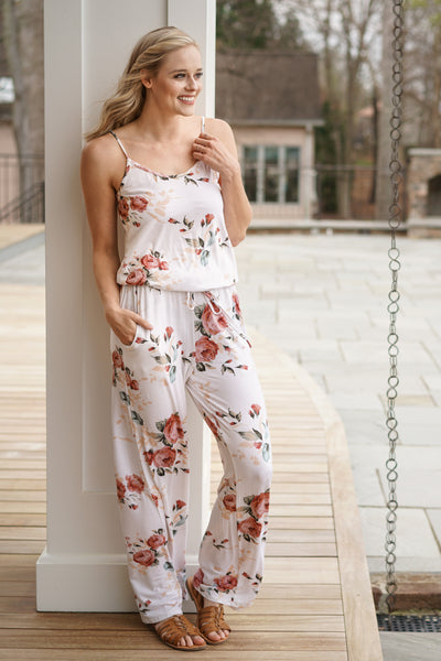 b1a00f87ec0 Be My Love Song Jumpsuit  Womens Ivory Floral ...