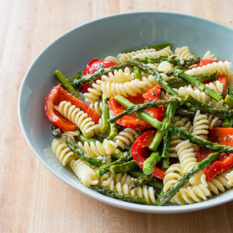 Pasta Salad with Asparagus and Roasted Red Peppers