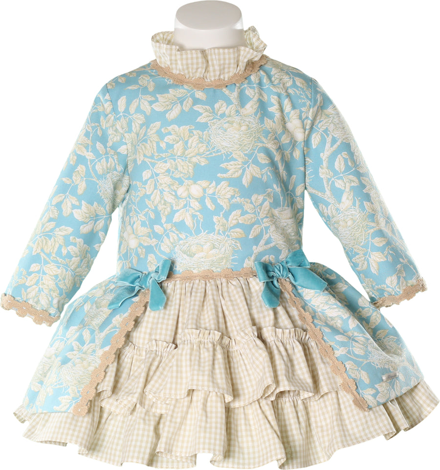 Turquoise & Beige Ruffle & Check Dress