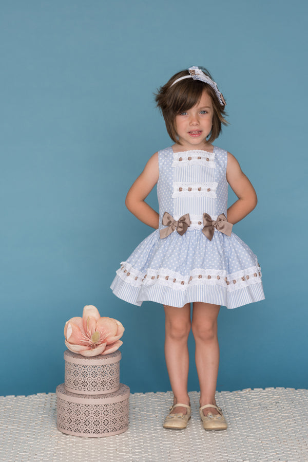 Blue & White Polka Dot Dress With Brown Bows