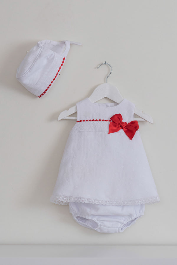 White & Red Top with Pant Set