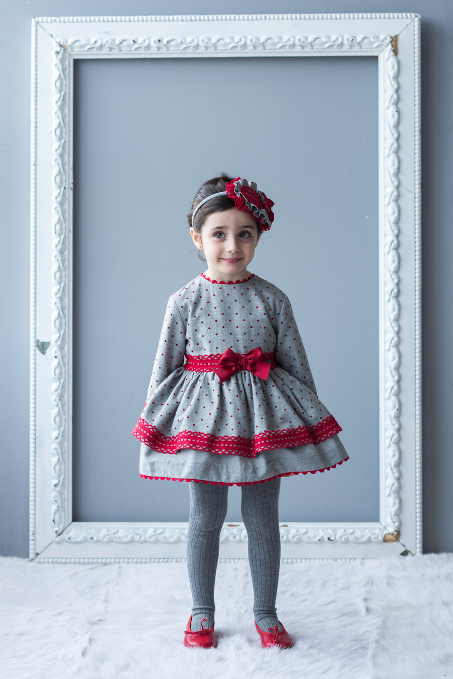 Grey & Red Polka Dot Dress