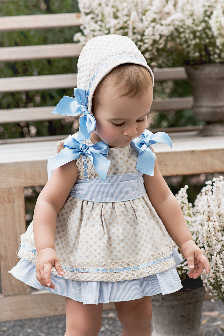 Beige Polka Dot Dress with Light Blue