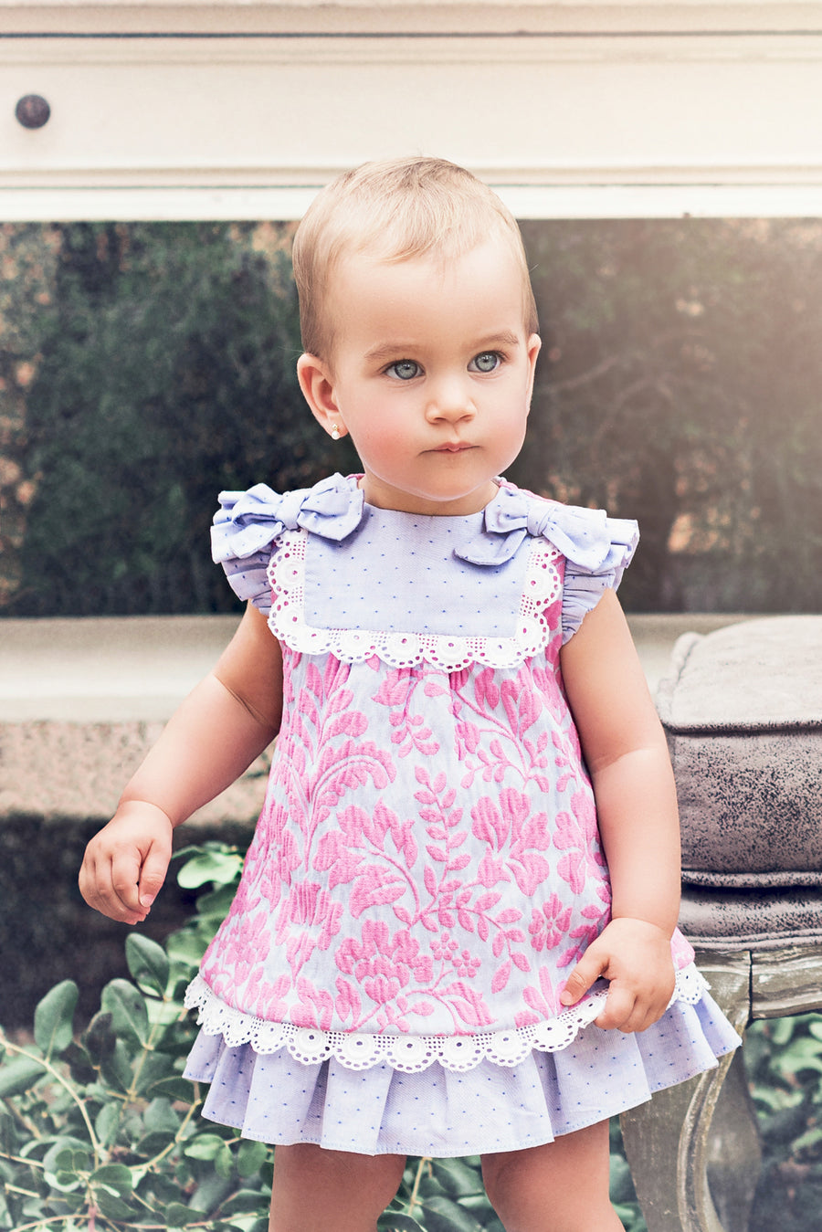Embossed Lavender & Fuchsia Dress with Matching Pants
