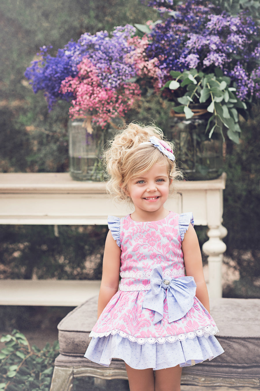 Fuchsia & Lavender Dress with Bow