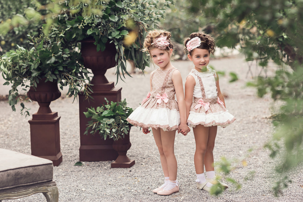 Caramel Beige & White Dress with Pink Bows