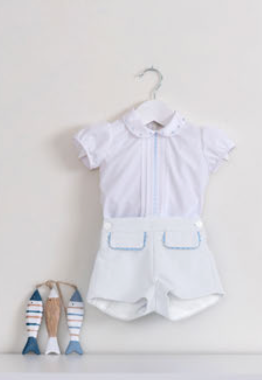 White with Blue Shirt & Shorts Set