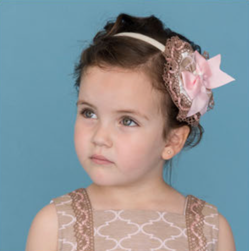 Headband in Caramel Beige & Pale Pink