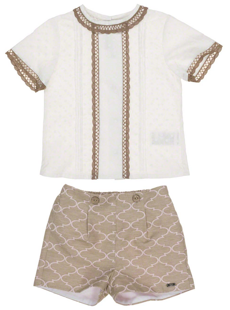 White & Caramel Top & Shorts Set