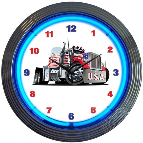 Neonetics Big Rig Truck Neon ClockNeonetics Big Rig Truck Neon ClockGarage Systematic