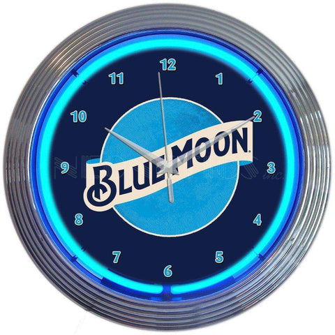 Neonetics Blue Moon Beer Neon ClockNeonetics Blue Moon Beer Neon ClockGarage Systematic