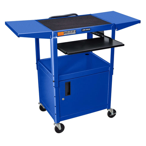 Luxor Adjustable Height Blue Metal A/V Cart w/ Pullout Keyboard Tray, Cabinet & 2 Drop Leaf ShelvesLuxor Adjustable Height Blue Metal A/V Cart w/ Pullout Keyboard Tray, Cabinet & 2 Drop Leaf ShelvesGarage Systematic