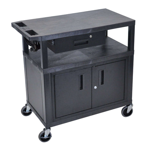Luxor 3 Flat Shelves W/ Cabinet, Drawer & Electric Black Presentation StationLuxor 3 Flat Shelves W/ Cabinet, Drawer & Electric Black Presentation StationGarage Systematic