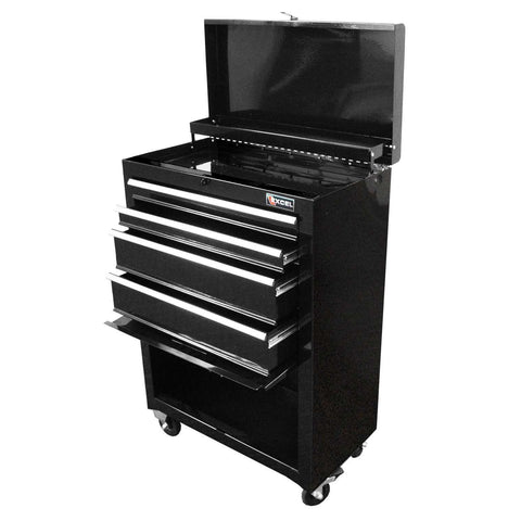 Excel TB2201X-Black 22-Inch Steel Chest Roller Cabinet Combination