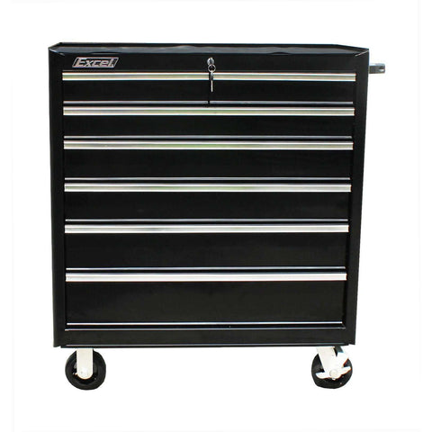 Excel TB2608X-Black 36-Inch Roller Metal Tool Box Cabinet with 7 Drawers