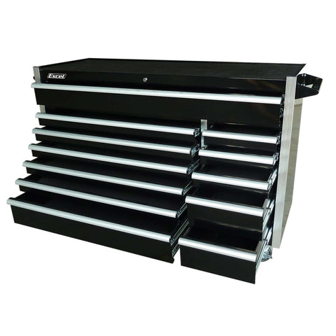 Excel TB5607B-Black 56-Inch Roller Metal Tool Box Cabinet with 12 BBS Drawers