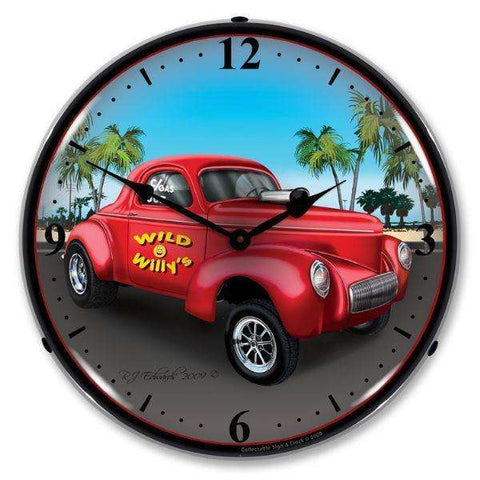 Collectable Sign & Clock Willys GasserCollectable Sign & Clock Willys GasserGarage Systematic