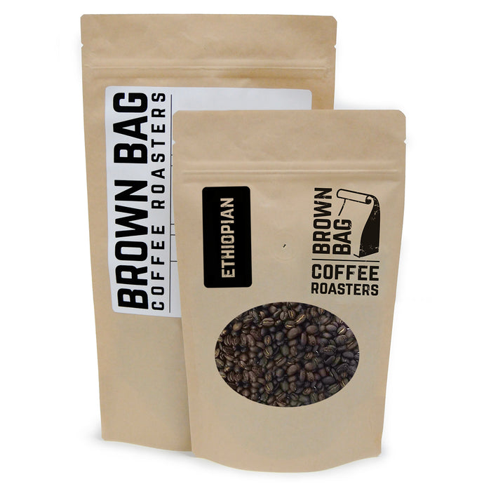 BBCR's Ethiopian single origin coffee bags are available in 2 sizes: 227 grams and 454 grams.