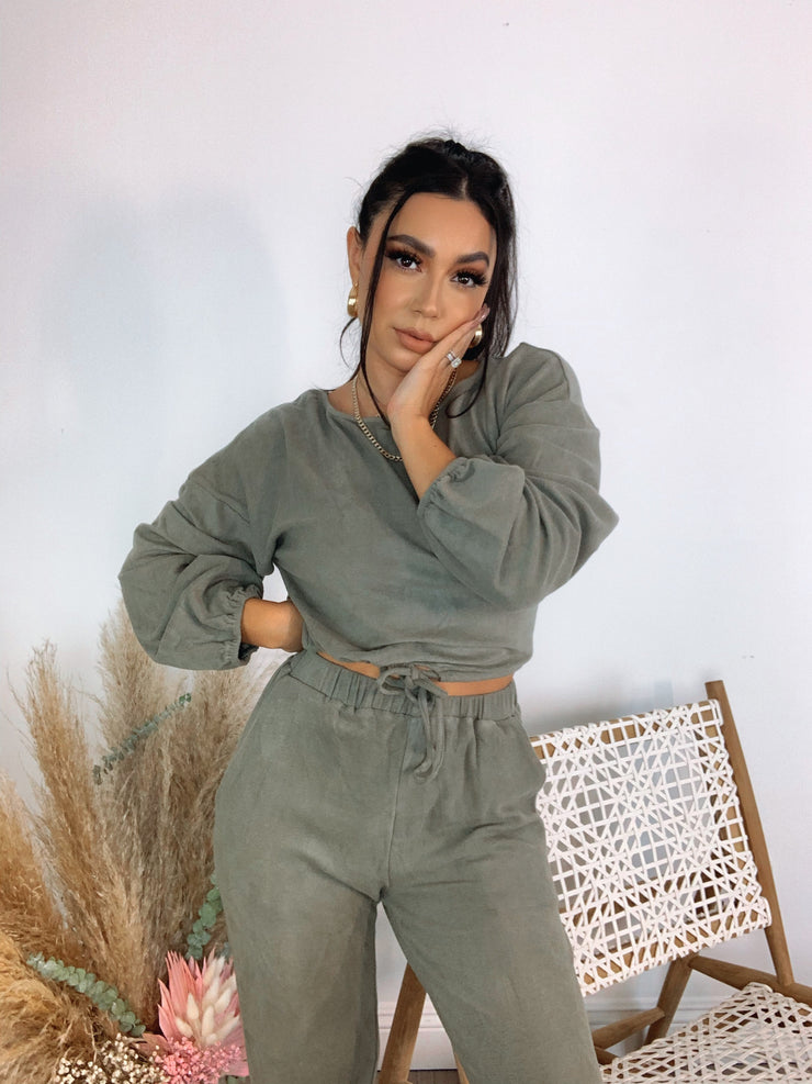 Set the mood Olive loungewear set