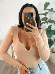 Lizzy beige long sleeve top
