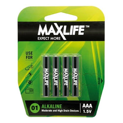 MAXLIFE AAA Alkaline Battery 4 Pack