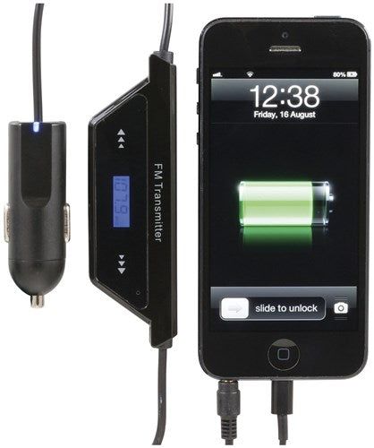In-Car iPhone 5 FM Transmitter & Charger with Mic