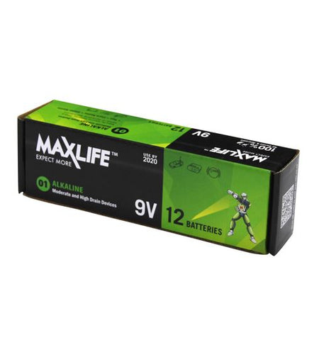 MAXLIFE 9V Alkaline Battery 12 BULK