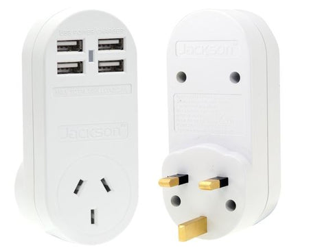 JACKSON Outbound Travel Adaptor With 4x USB Charging Port (2.1A total). Converts NZ/Aust Plugs for use in UK & Hong Kong