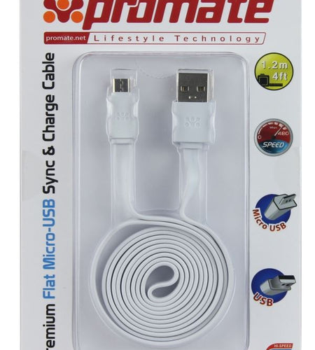 Promate 1.2m Micro-USB to USB Cable Premium Flat, Charge & Sync