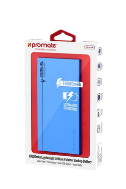 PROMATE Premium Lithium Polymer Backup Battery with Dual USB ports and Shake View Technology Colour Blue