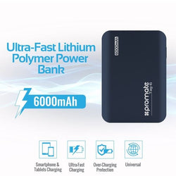 PROMATE 6000mAh Ultra-Fast Charging Power Bank. Smartphone & tablet charging, Colour Blue