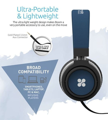 PROMATE Over-Ear Ergonomic Wired Blue