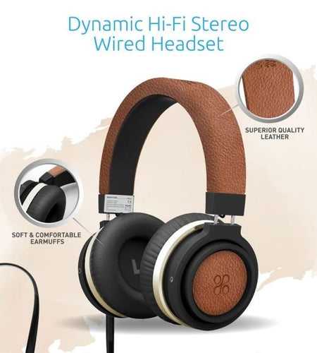 PROMATE Over-Ear Ergonomic Wired Brown