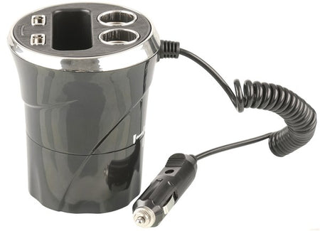 iPhone/iPod Car Charger with Cup Holder Cradle & Dual USB Sockets