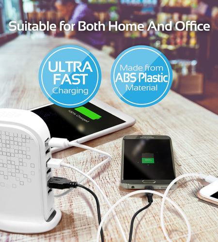 PROMATE Ultra-Fast 6 Port Charging Station - White, NEW