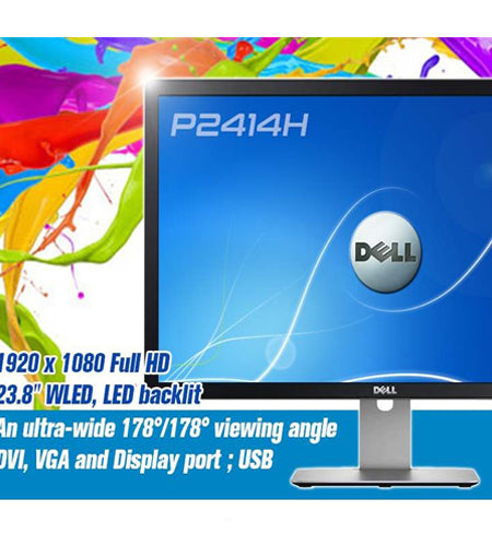 "Dell P2414h, 23.8"" LED-Backlit, Full-HD(1920 x 1080) DisplayPort"